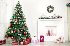 Christmas living room. With colorful toys Stock Photo