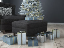 Christmas living room. 3d rendering Royalty Free Stock Photo