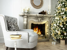Christmas living room. 3d rendering. Christmas living room with a tree and fireplace. 3d rendering Stock Photo