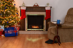 Christmas living room stock photos