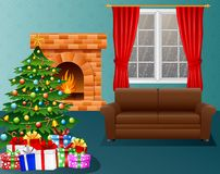 Christmas living room with fireplace, armchair, xmas tree and presents. Illustration of  Christmas living room with fireplace, armchair, xmas tree and presents Royalty Free Stock Images