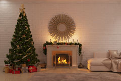 Christmas living room with fireplace, tree and presents. 3d illustration of Christmas livingroom with fireplace, tree and presents Royalty Free Stock Image