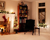 Christmas living room holiday lights. Living room decked out for the Christmas holidays Royalty Free Stock Photos