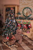 Christmas Living Room Interior Stock Images