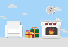 Christmas Living room interior with fireplace, white armchair an. D New Year gifts. Flat  Illustration Stock Photo