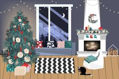 Christmas living room with a christmas tree and presents under it - modern scandinavian style, vector illustration stock illustration