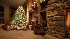 Christmas living room time lapse pan stock video footage