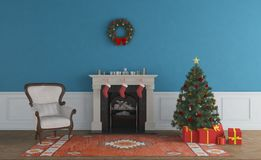 Christmas Living Room and Christmas Tree royalty free illustration