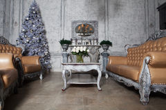 Christmas living room with tree. Blue toned. Happy Holiday Royalty Free Stock Images