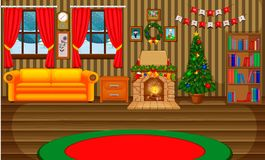 Christmas living room with a tree and fireplace. Illustration of Christmas living room with a tree and fireplace Stock Photography
