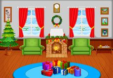 Christmas living room with a tree and fireplace. Illustration of Christmas living room with a tree and fireplace Stock Images