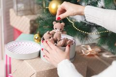 Christmas living room with Christmas tree and gifts under it Stock Photos