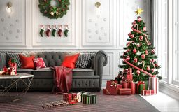 Christmas living room with a christmas tree and presents under i vector illustration