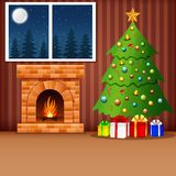 Christmas living room with xmas tree, presents, and fireplace. Illustration of Christmas living room with xmas tree, presents, and fireplace Royalty Free Stock Photo