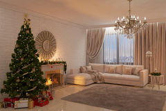 Christmas livingroom with fireplace, tree and presents Stock Photography