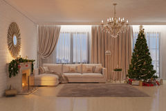 Christmas livingroom with fireplace, tree and presents Stock Images