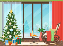Christmas livingroom flat interior with rocking chair vector illustration. Christmas New Year tree. Winter landscape. Outside Royalty Free Stock Photo