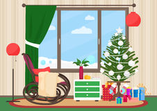 Christmas livingroom flat interior with rocking chair vector illustration. Christmas New Year tree. Winter landscape. Outside Stock Images