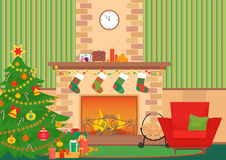 Christmas livingroom flat interior vector illustration. Christmas New Year tree and fireplace with socks. Christmas wall. Pattern Royalty Free Stock Photo