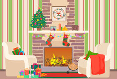 Christmas livingroom flat interior vector illustration. Christmas New Year tree and fireplace with socks. Christmas wall. Pattern Stock Photo