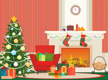 Christmas livingroom flat interior vector illustration. Christmas New Year tree, red armchair and fireplace with socks. Christmas wall red pattern Stock Images
