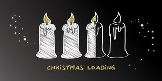 Christmas is loading - background with four candles. Christmas is loading. Progress bar with candles showing loading of christmas stock illustration