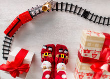 Christmas locomotive with gifts and Santa Claus Stock Photo