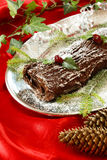 Christmas log cake Stock Image