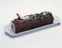 Christmas log cake Stock Photos