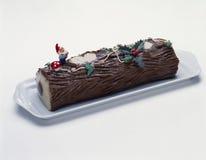 Christmas log cake Stock Photos