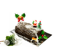 Christmas log cake Royalty Free Stock Photos
