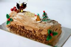 Christmas log cake Stock Photography