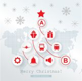 Christmas logistics card. Schematic christmas tree on schematic world map. Red icons on white grey background. New Year banner vector illustration