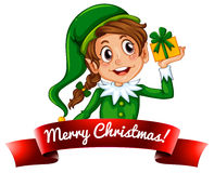 Christmas logo with female elf Stock Images