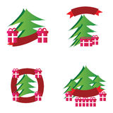 Christmas logos. Abstract Christmas logos with gifts(vector&#x29 Stock Photography