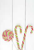 Christmas lollipop candies. Frame composition Royalty Free Stock Photos