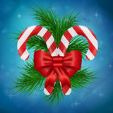Christmas lollipop with ribbon Stock Photos