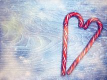 Christmas lollipops heart form sweet festive dessert food Royalty Free Stock Image
