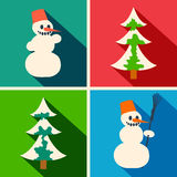 Christmas long shadow icons. With snowman and pine Royalty Free Stock Images