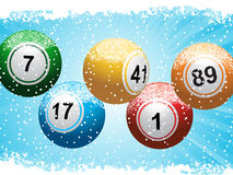 Christmas lottery bingo background and snow. Yellow Christmas baubles spelling out '2012' on a sparkling red background stock illustration