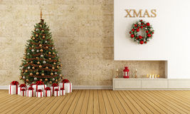 Christmas lounge. With fireplace and tree with gift - rendering Royalty Free Stock Photo