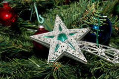 Christmas in love 3. Christmas in Love - Xmas tree decoration - Xmas silver comet star Stock Image