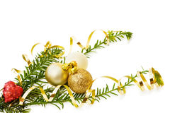 Christmas love with heart and baubles. Love Christmas with red heart, traditional pine tree branch and golden baubles decorations. Isolated on white background royalty free stock photo