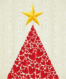 Christmas love heart pine tree. Over wooden texture pattern background. Vector illustration layered for easy manipulation and custom coloring Stock Image