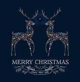 Christmas love reindeer vintage greeting card. Merry Christmas greeting card. Reindeers shape in love vintage illustration. EPS10 vector file organized in layers Royalty Free Stock Photos