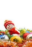 Christmas Lovely snowman and decoration balls Stock Photo