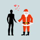 Christmas Lover. Man and Santa Claus. Love in  New Year. Lovers Stock Photos