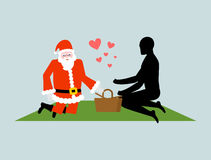 Christmas Lover. Santa Claus on picnic. Rendezvous in Park. Meal Stock Image