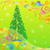 Christmas Low Poly Background with Fir Tree Stock Photography