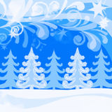 Christmas Low Poly Background, Winter Forest Stock Photo